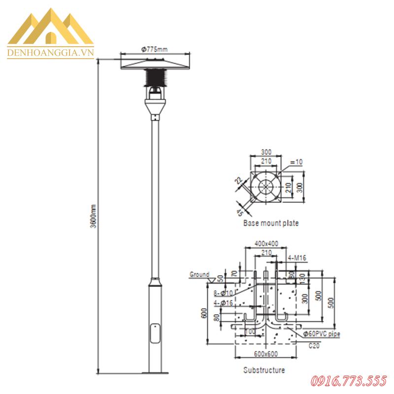 Kích thước của đèn trụ sân vườn Rolux-TSV40