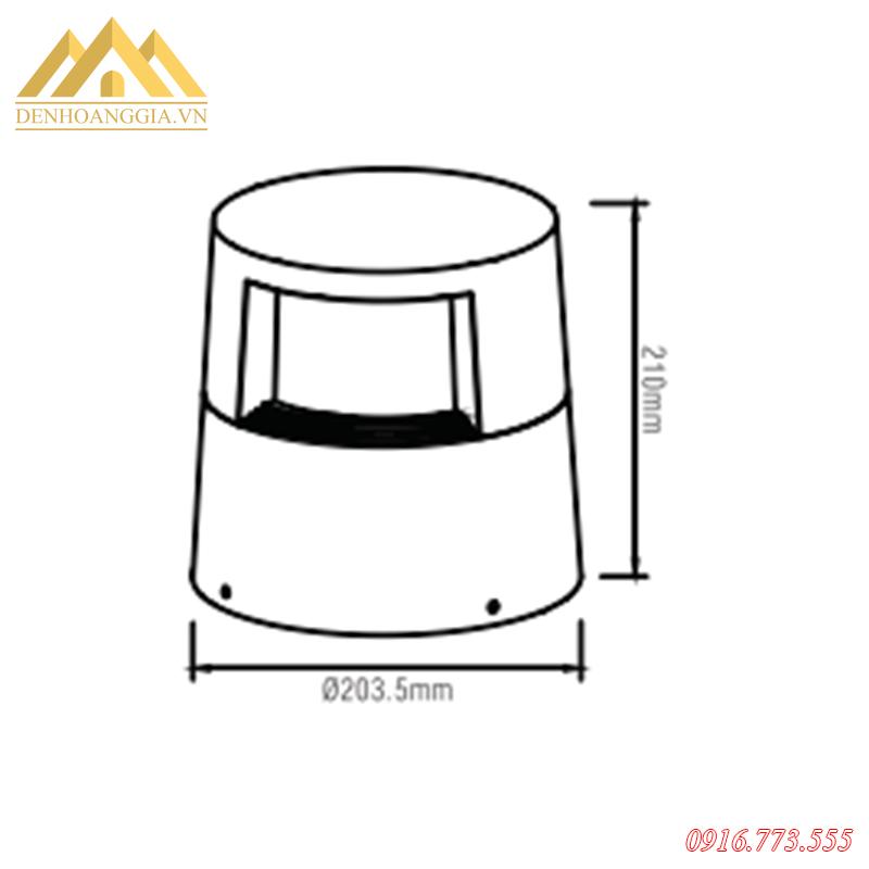 Kich thước của đèn trụ sân vườn nấm HGA-TSVM10