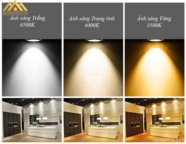 Màu sắc ánh sáng của đèn led âm trần