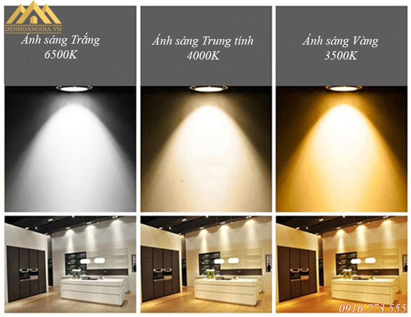 Các màu sắc ánh sáng của đèn led âm trần