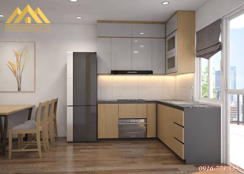 Khu vực tủ bếp được thiết kế đèn led dây để trang trí