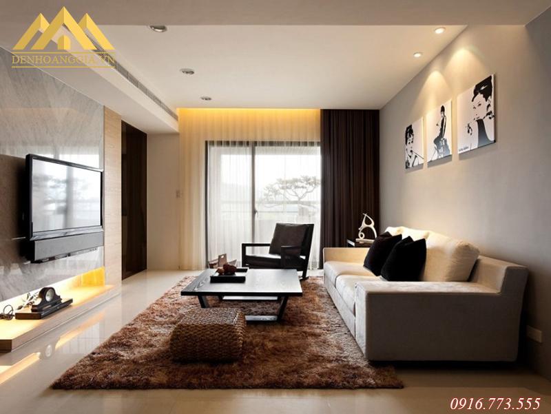 Sử dụng đèn led âm trần lắp đặt ở phòng khách tại KĐT Thanh Hà
