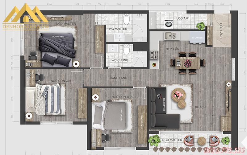 Bản thiết kế căn hộ mẫu ở chung cư Vinhomes D'Capitale Trần Duy Hưng