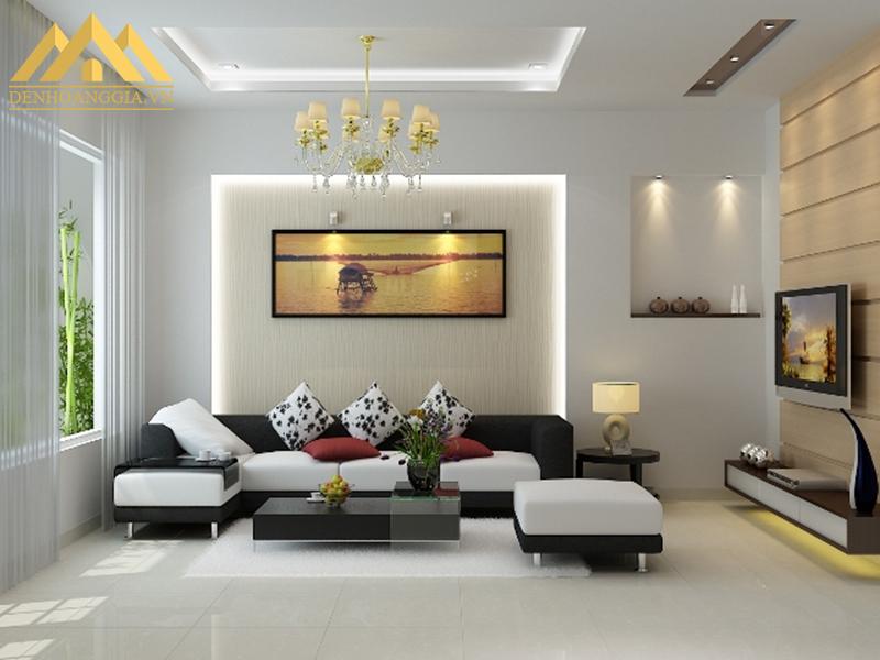 Ứng dụng đèn tường led lắp đặt ở không gian phòng khách