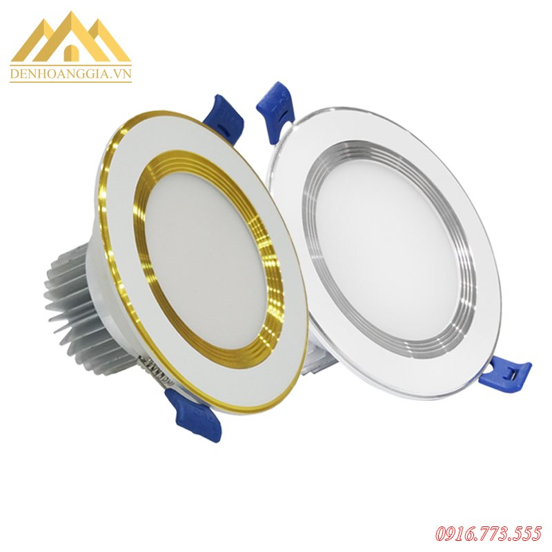 Bộ đèn led âm trần đế dày chống chói 7w viền vàng và viền trắng