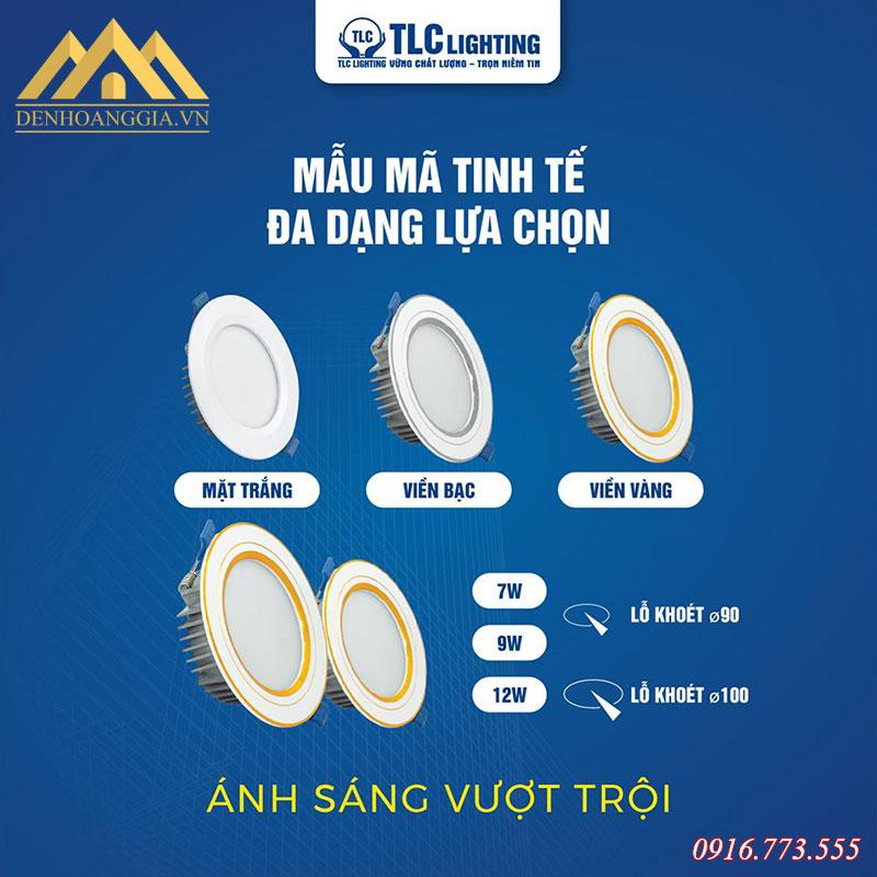 Các loại công suất và kích thước khoét lỗ của đèn led âm trần khối đúc TOS