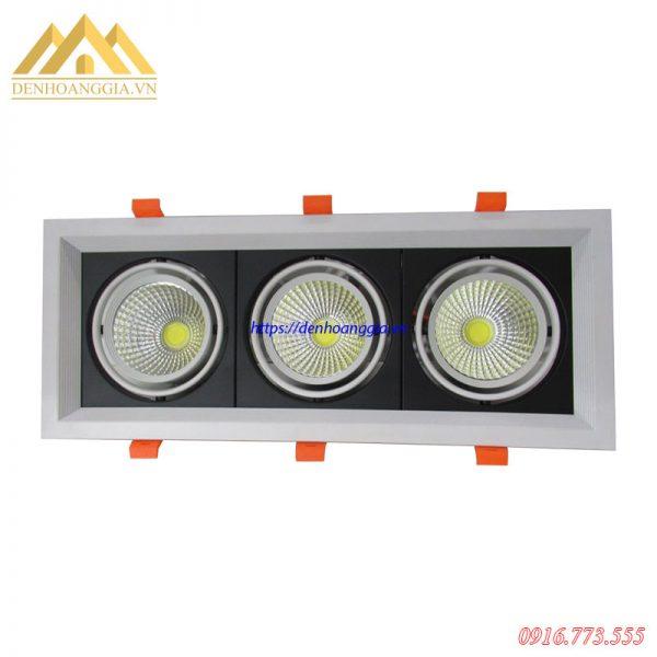 Đèn led spotlight âm trần 3 bóng mặt lõm