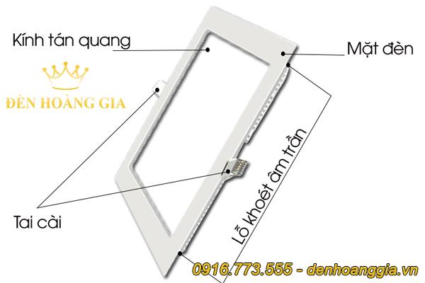 Cấu tạo của đèn led âm trần siêu mỏng hình vuông