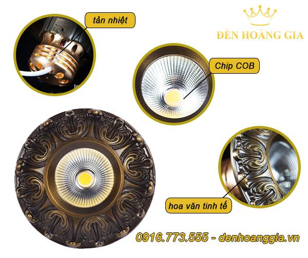 Mẫu đèn led âm trần cổ điển số 1 bằng đồng