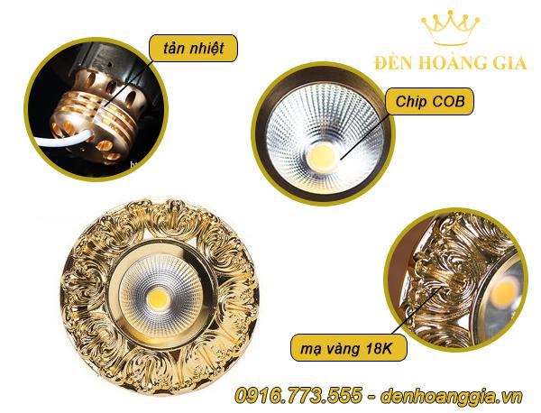Mẫu đèn led âm trần cổ điển số 2 mạ vàng 18K