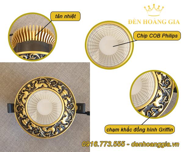 Mẫu đèn led âm trần cổ điển bằng đồng chạm khắc Griffin