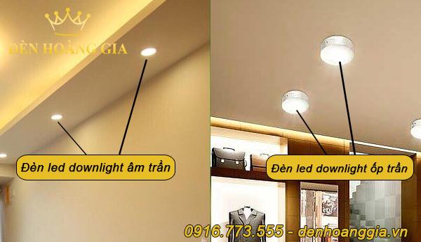 Đèn led downlight âm trần và ốp trần