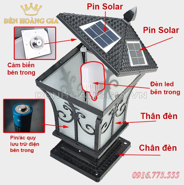 Cấu tạo của đèn trụ cổng Solar