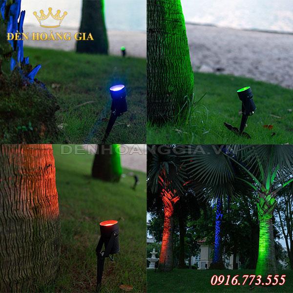 Dùng đèn led cắm cỏ để trang trí chiếu sáng gốc cây