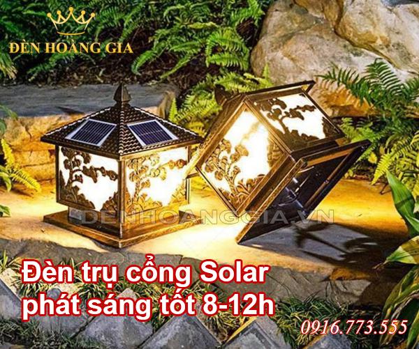 Đèn trụ cổng Solar có thể phát sáng tốt từ 8-12h